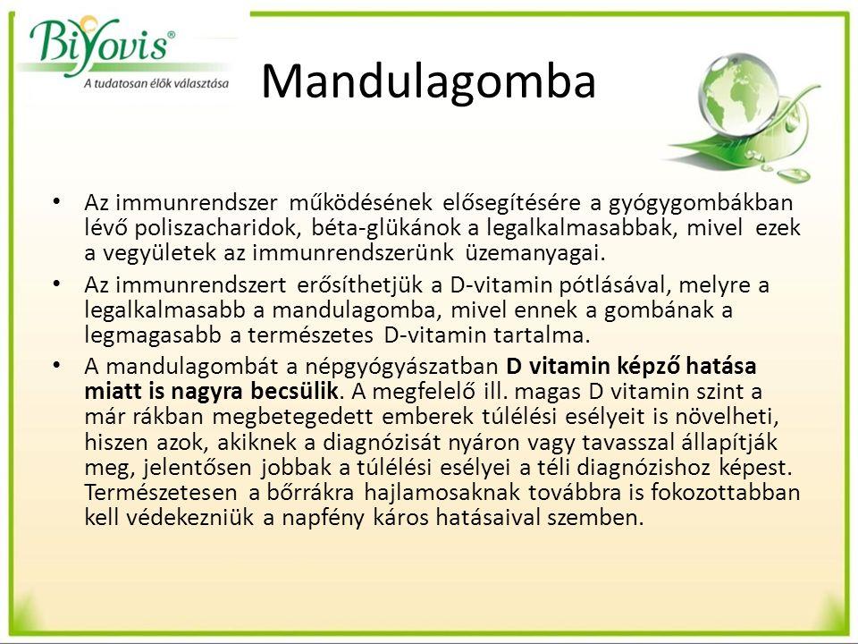Mandulagomba Az immunrendszer működésének elősegítésére a gyógygombákban lévő poliszacharidok, béta-glükánok a legalkalmasabbak, mivel ezek a vegyületek az immunrendszerünk üzemanyagai.