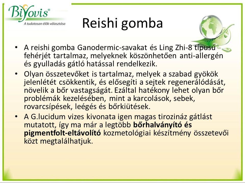 Reishi gomba A reishi gomba Ganodermic-savakat és Ling Zhi-8 típusú fehérjét tartalmaz, melyeknek köszönhetően anti-allergén és gyulladás gátló hatással rendelkezik.