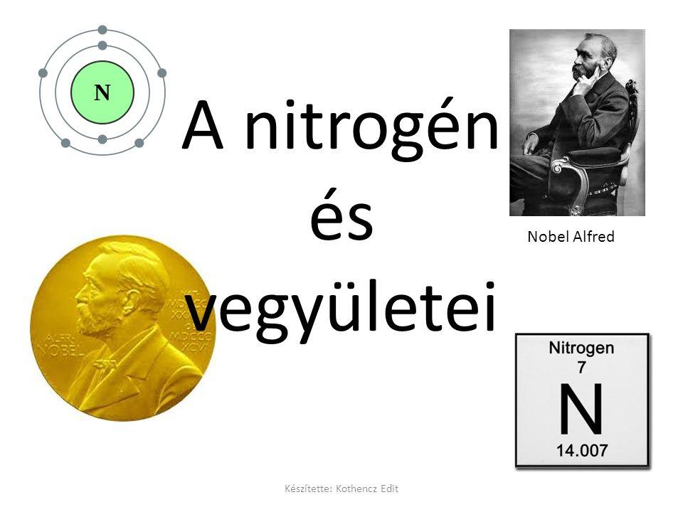 A nitrogén és vegyületei Nobel Alfred Készítette: Kothencz Edit