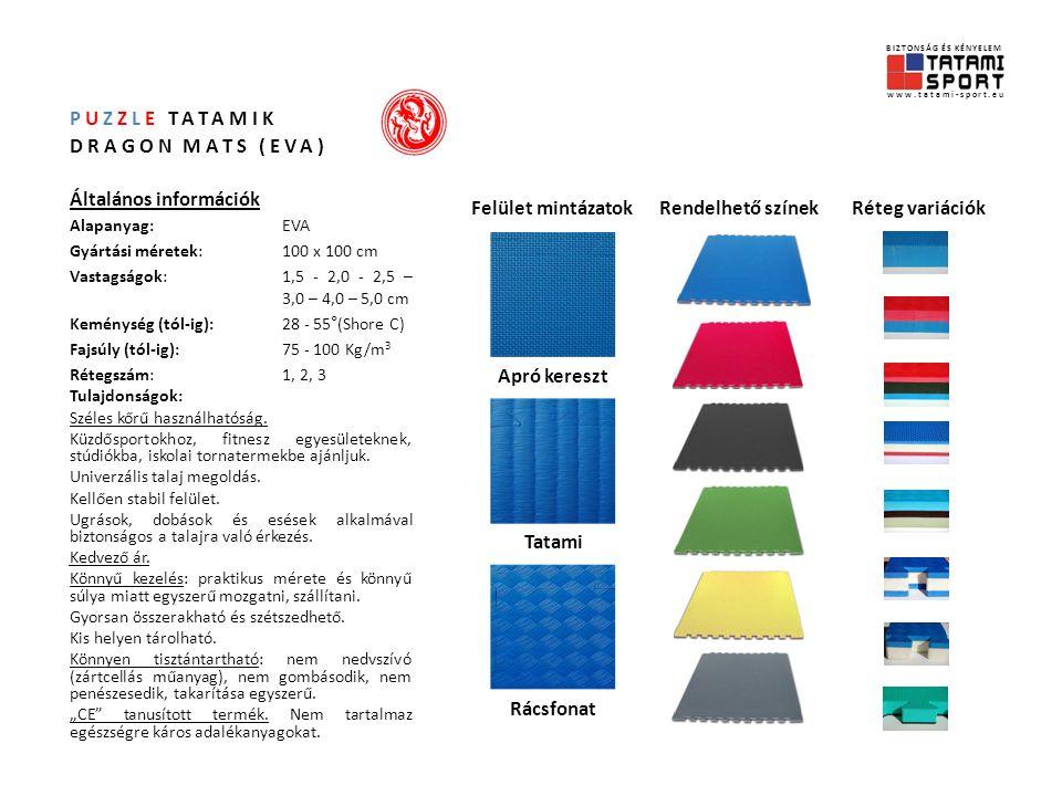 PUZZLE TATAMIK DRAGON MATS (EVA) Általános információk Alapanyag:EVA Gyártási méretek:100 x 100 cm Vastagságok:1,5 - 2,0 - 2,5 – 3,0 – 4,0 – 5,0 cm Keménység (tól-ig): 28 - 55°(Shore C) Fajsúly (tól-ig): 75 - 100 Kg/m 3 Rétegszám:1, 2, 3 Tulajdonságok: Széles kőrű használhatóság.