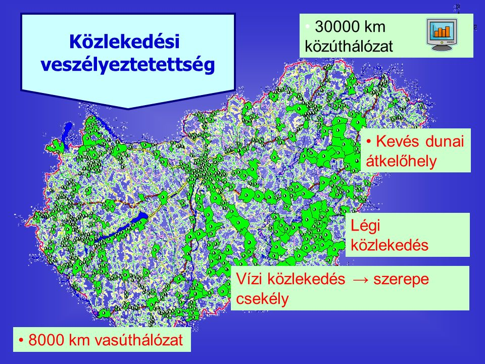 36 36 8000 km vasúthálózat 30000 km közúthálózat Kevés dunai átkelőhely Vízi közlekedés → szerepe csekély Légi közlekedés Közlekedési veszélyeztetettség
