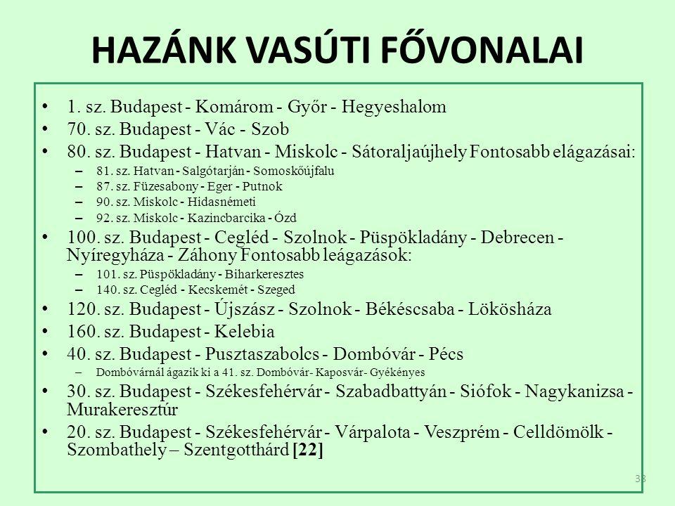 38 HAZÁNK VASÚTI FŐVONALAI 1. sz. Budapest - Komárom - Győr - Hegyeshalom 70.
