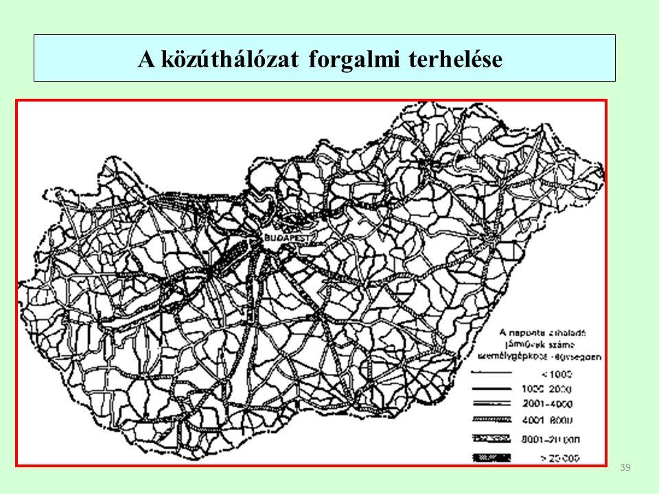 39 A közúthálózat forgalmi terhelése