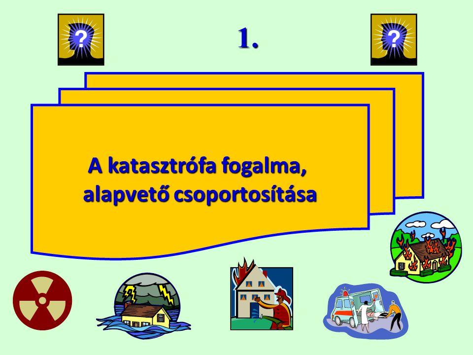 1. A katasztrófa fogalma, alapvető csoportosítása