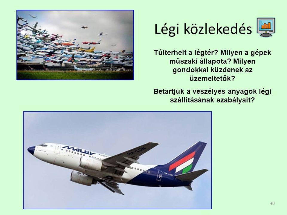40 Légi közlekedés Túlterhelt a légtér. Milyen a gépek műszaki állapota.