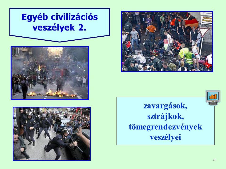 48 Egyéb civilizációs veszélyek 2. zavargások zavargások, sztrájkok, tömegrendezvények veszélyei