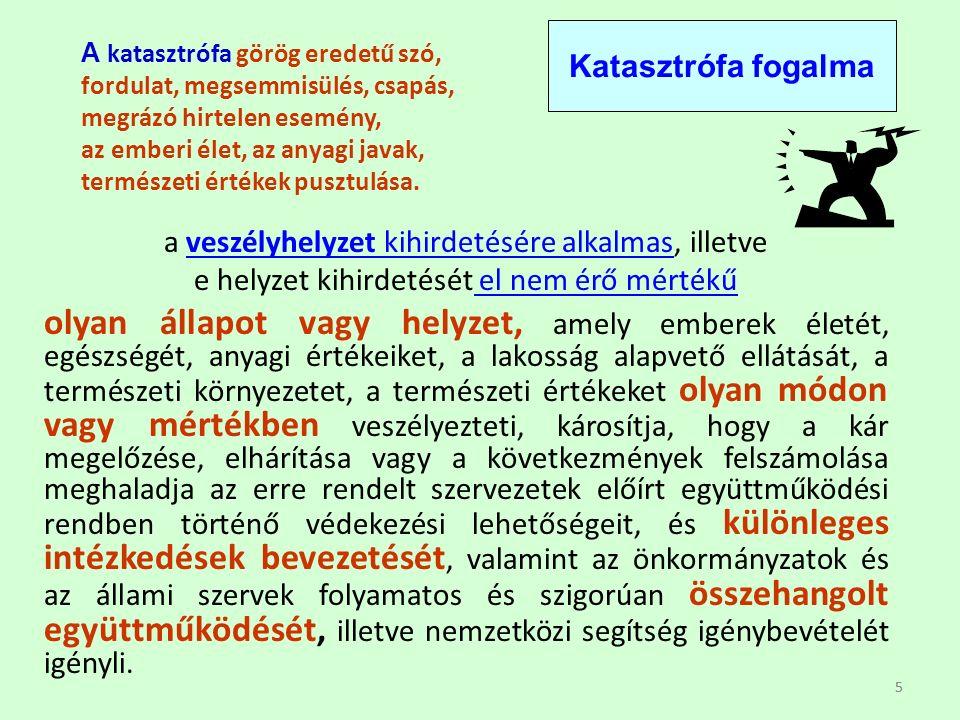 55 A katasztrófa görög eredetű szó, fordulat, megsemmisülés, csapás, megrázó hirtelen esemény, az emberi élet, az anyagi javak, természeti értékek pusztulása.