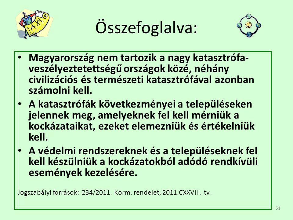 51 Összefoglalva: Magyarország nem tartozik a nagy katasztrófa- veszélyeztetettségű országok közé, néhány civilizációs és természeti katasztrófával azonban számolni kell.