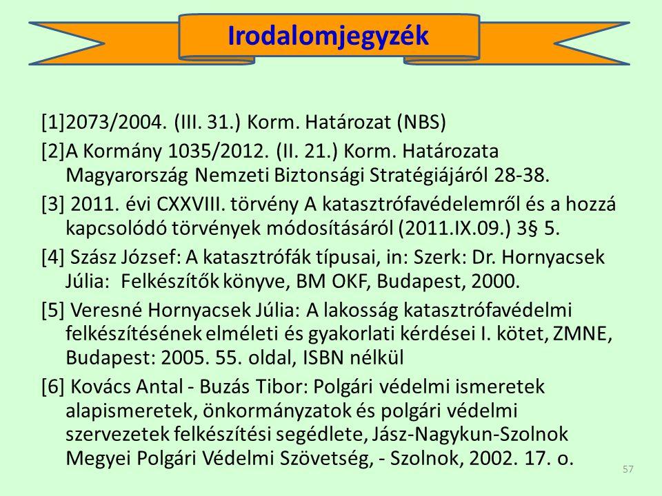 57 [1]2073/2004. (III. 31.) Korm. Határozat (NBS) [2]A Kormány 1035/2012.
