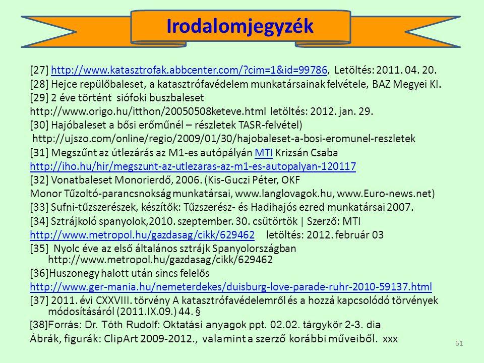 61 [27] http://www.katasztrofak.abbcenter.com/ cim=1&id=99786, Letöltés: 2011.