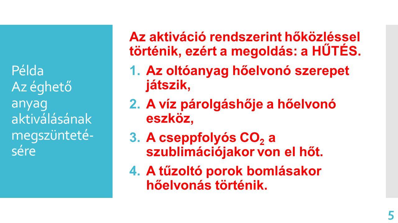 Példa Az éghető anyag aktiválásának megszünteté- sére Az aktiváció rendszerint hőközléssel történik, ezért a megoldás: a HŰTÉS. 1.Az oltóanyag hőelvon
