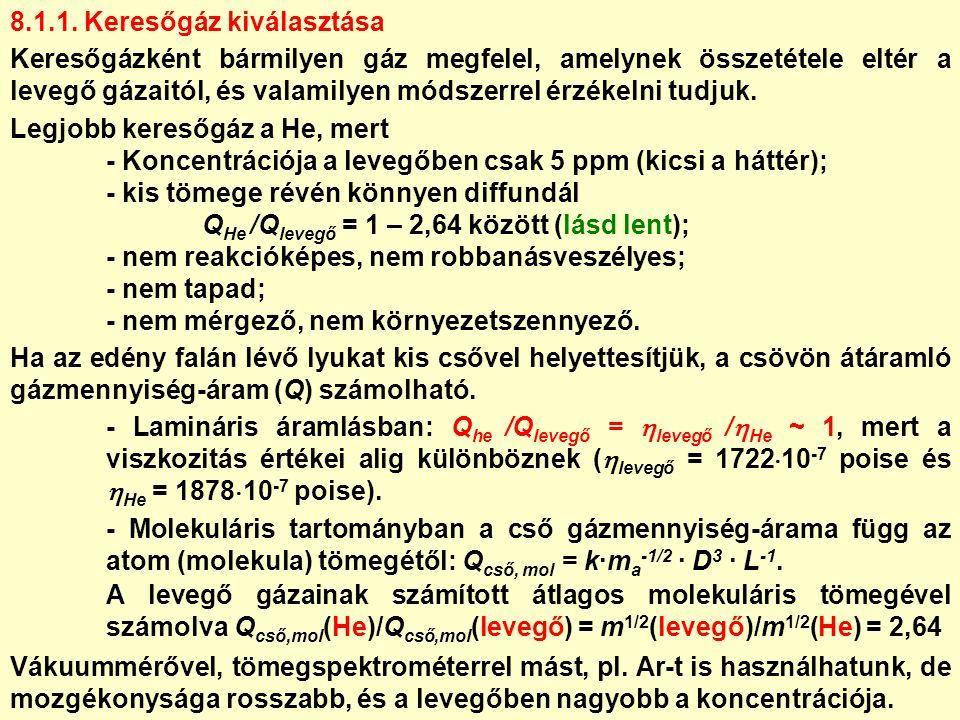 8.1.1. Keresőgáz kiválasztása Keresőgázként bármilyen gáz megfelel, amelynek összetétele eltér a levegő gázaitól, és valamilyen módszerrel érzékelni t