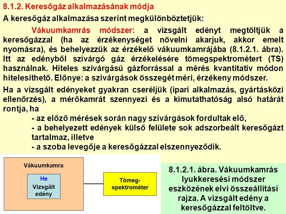 8.1.2. Keresőgáz alkalmazásának módja A keresőgáz alkalmazása szerint megkülönböztetjük: Vákuumkamrás módszer: a vizsgált edényt megtöltjük a keresőgá