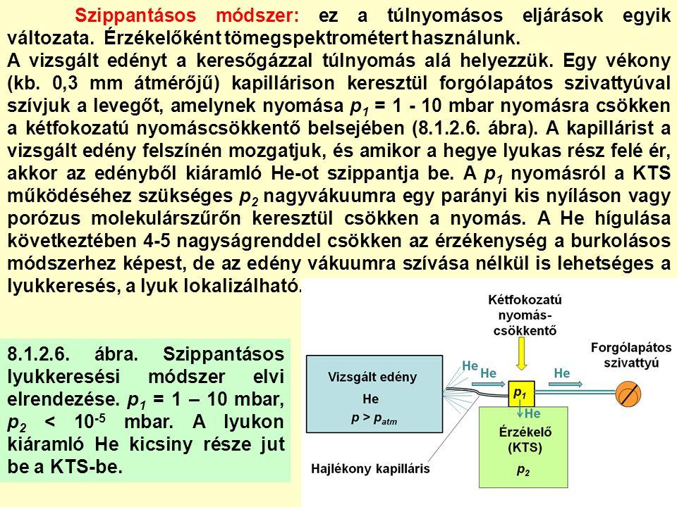 8.6.LYUKKERESÉSI GYAKORLATOK A.) Lyukkeresés Pirani vákuummérővel: 1.