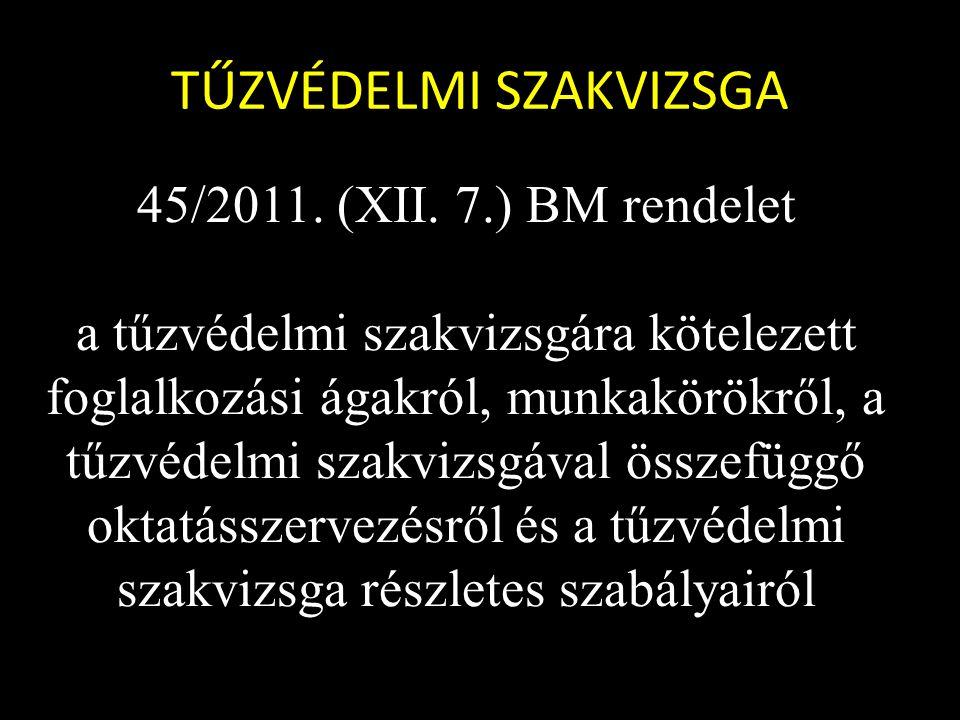 TŰZVÉDELMI SZAKVIZSGA 45/2011. (XII.