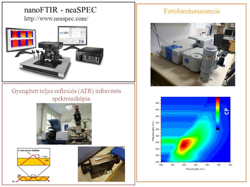 nanoFTIR - neaSPEC http://www.neaspec.com/ Gyengített teljes reflexiós (ATR) infravörös spektroszkópia Fotolumineszcencia CP S