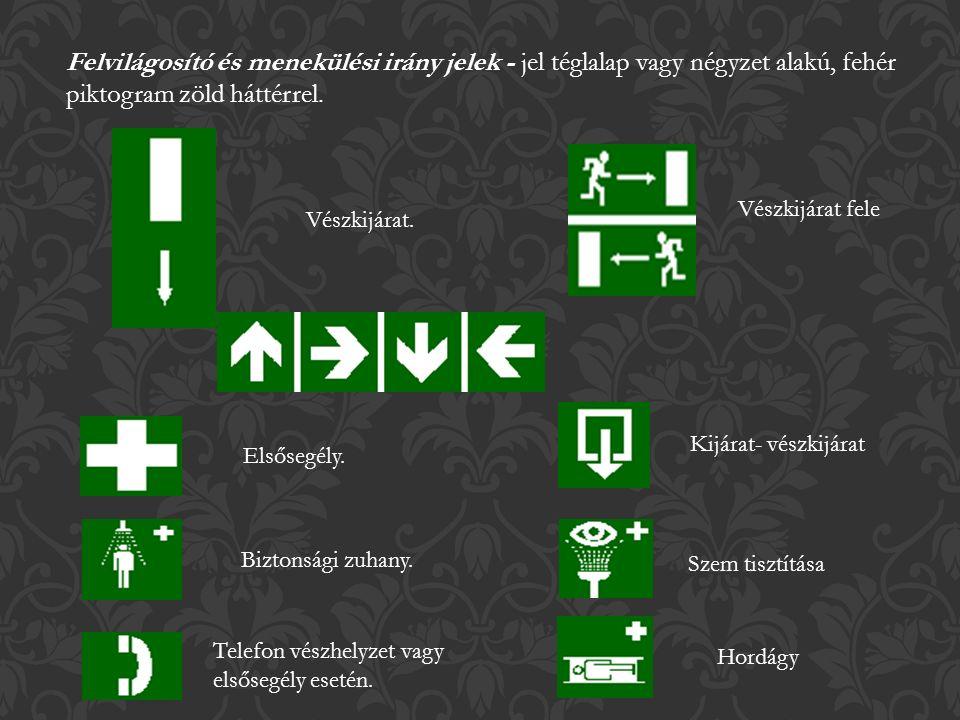 Felvilágosító és menekülési irány jelek - jel téglalap vagy négyzet alakú, fehér piktogram zöld háttérrel.