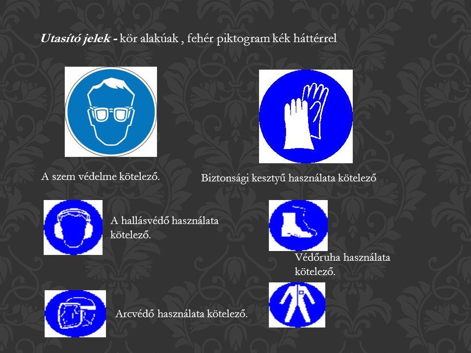 Utasító jelek - kör alakúak, fehér piktogram kék háttérrel A szem védelme kötelező.