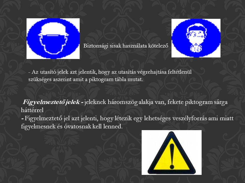 Biztonsági sisak használata kötelező - Az utasító jelek azt jelentik, hogy az utasítás végrehajtása feltétlenül szükséges aszerint amit a piktogram tábla mutat.