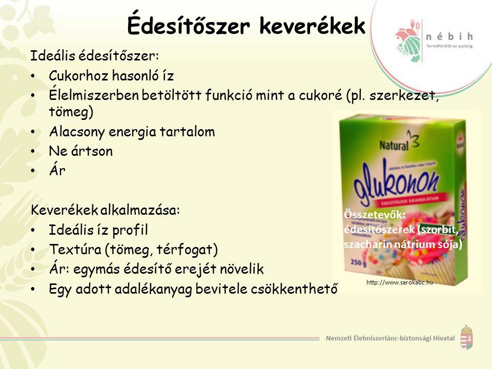 Édesítőszer keverékek Ideális édesítőszer: Cukorhoz hasonló íz Élelmiszerben betöltött funkció mint a cukoré (pl. szerkezet, tömeg) Alacsony energia t