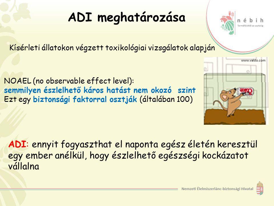ADI meghatározása Kísérleti állatokon végzett toxikológiai vizsgálatok alapján www.valdo.com ADI: ennyit fogyaszthat el naponta egész életén keresztül egy ember anélkül, hogy észlelhető egészségi kockázatot vállalna NOAEL (no observable effect level): semmilyen észlelhető káros hatást nem okozó szint Ezt egy biztonsági faktorral osztják (általában 100)