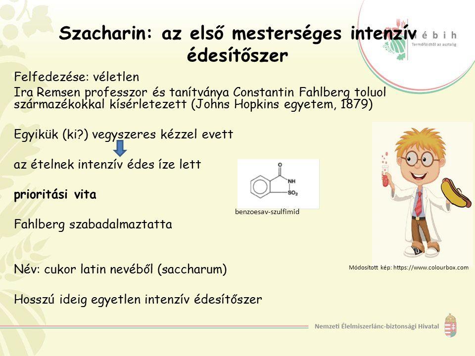 Szacharin: az első mesterséges intenzív édesítőszer Felfedezése: véletlen Ira Remsen professzor és tanítványa Constantin Fahlberg toluol származékokka