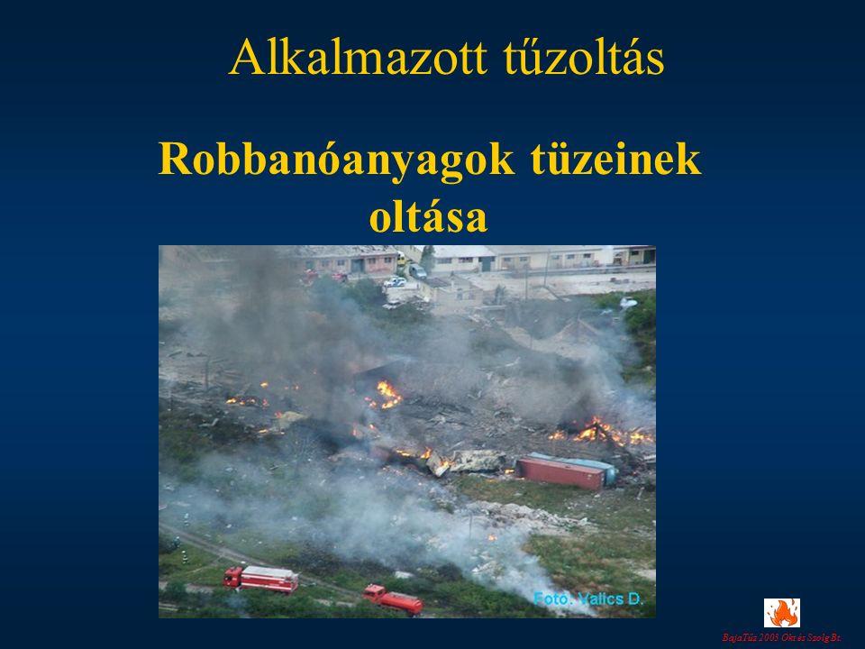 BajaTűz 2003 Okt és Szolg Bt. Alkalmazott tűzoltás Robbanóanyagok tüzeinek oltása
