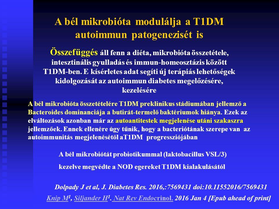 A bél mikrobióta modulálja a T1DM autoimmun patogenezisét is Összefüggés áll fenn a diéta, mikrobióta összetétele, intesztinális gyulladás és immun-homeosztázis között T1DM-ben.
