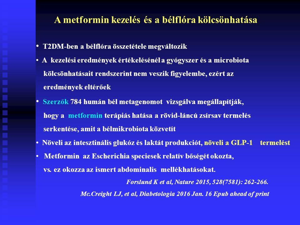 T2DM-ben a bélflóra összetétele megváltozik A kezelési eredmények értékelésénél a gyógyszer és a microbiota kölcsönhatásait rendszerint nem veszik figyelembe, ezért az eredmények eltérőek Szerzők 784 humán bél metagenomot vizsgálva megállapítják, hogy a metformin terápiás hatása a rövid-láncú zsírsav termelés serkentése, amit a bélmikrobiota közvetít Növeli az intesztinális glukóz és laktát produkciót, növeli a GLP-1 termelést Metformin az Escherichia speciesek relatív bőségét okozta, vs.