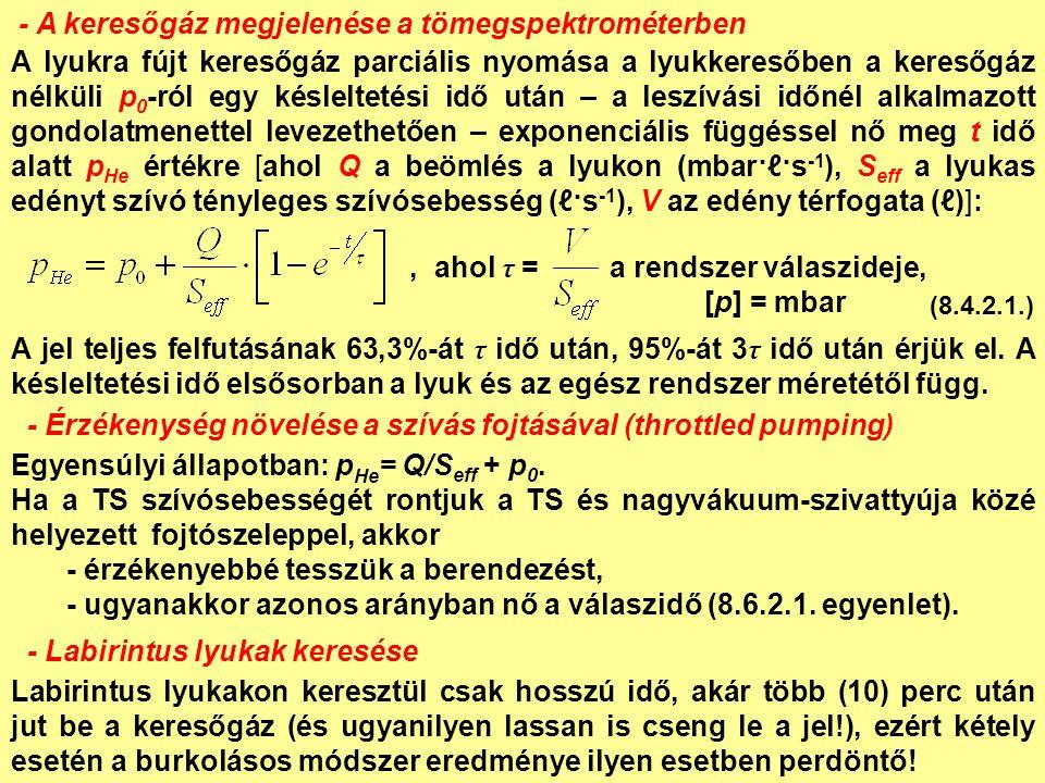 - A keresőgáz megjelenése a tömegspektrométerben A lyukra fújt keresőgáz parciális nyomása a lyukkeresőben a keresőgáz nélküli p 0 -ról egy késleltetési idő után – a leszívási időnél alkalmazott gondolatmenettel levezethetően – exponenciális függéssel nő meg t idő alatt p He értékre [ahol Q a beömlés a lyukon (mbar·ℓ·s -1 ), S eff a lyukas edényt szívó tényleges szívósebesség (ℓ·s -1 ), V az edény térfogata (ℓ)]:, ahol τ = a rendszer válaszideje, [p] = mbar A jel teljes felfutásának 63,3%-át τ idő után, 95%-át 3 τ idő után érjük el.