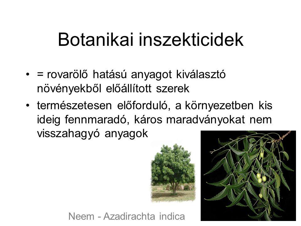 Botanikai inszekticidek = rovarölő hatású anyagot kiválasztó növényekből előállított szerek természetesen előforduló, a környezetben kis ideig fennmaradó, káros maradványokat nem visszahagyó anyagok Neem - Azadirachta indica