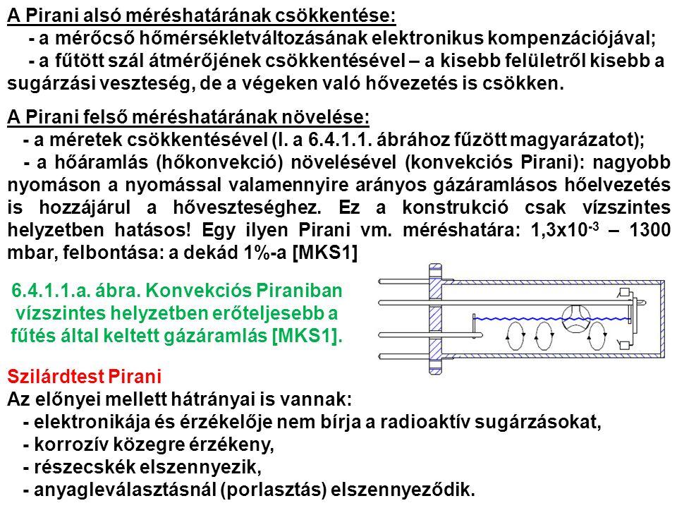 A Pirani alsó méréshatárának csökkentése: - a mérőcső hőmérsékletváltozásának elektronikus kompenzációjával; - a fűtött szál átmérőjének csökkentésével – a kisebb felületről kisebb a sugárzási veszteség, de a végeken való hővezetés is csökken.