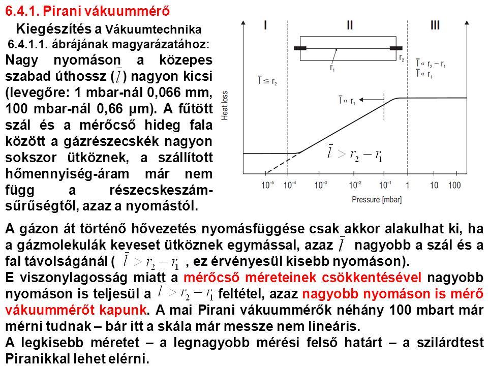 A gázon át történő hővezetés nyomásfüggése csak akkor alakulhat ki, ha a gázmolekulák keveset ütköznek egymással, azaz nagyobb a szál és a fal távolságánál (, ez érvényesül kisebb nyomáson).