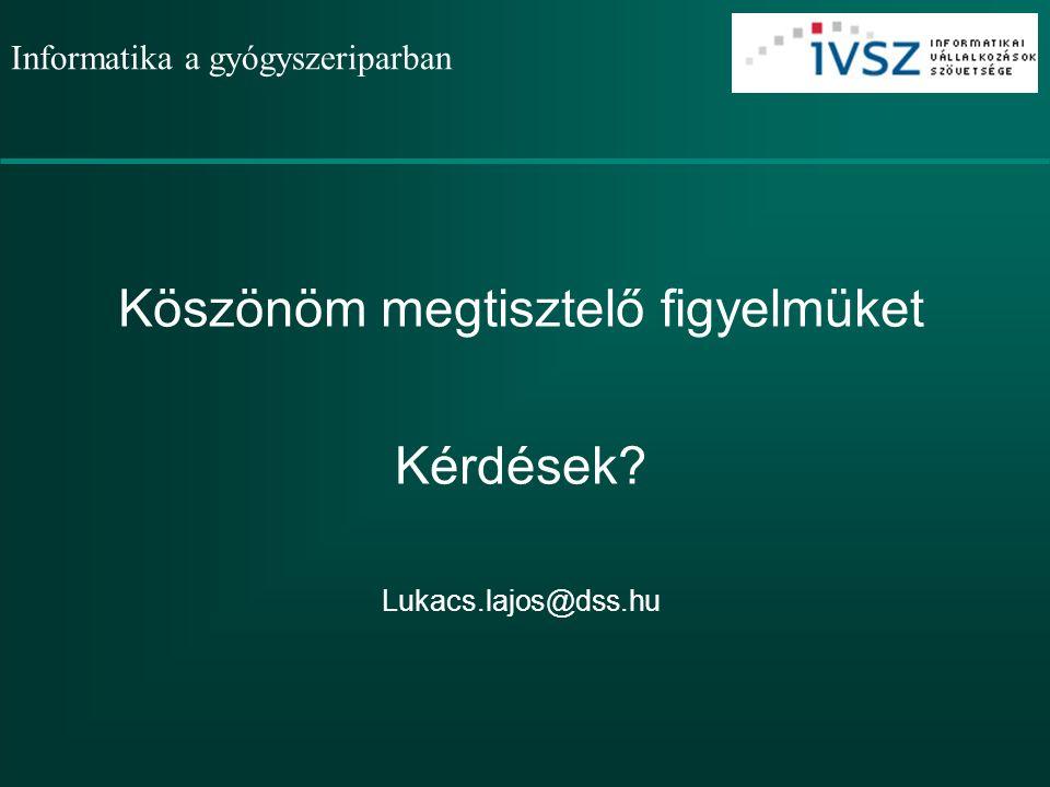 Informatika a gyógyszeriparban Köszönöm megtisztelő figyelmüket Kérdések Lukacs.lajos@dss.hu