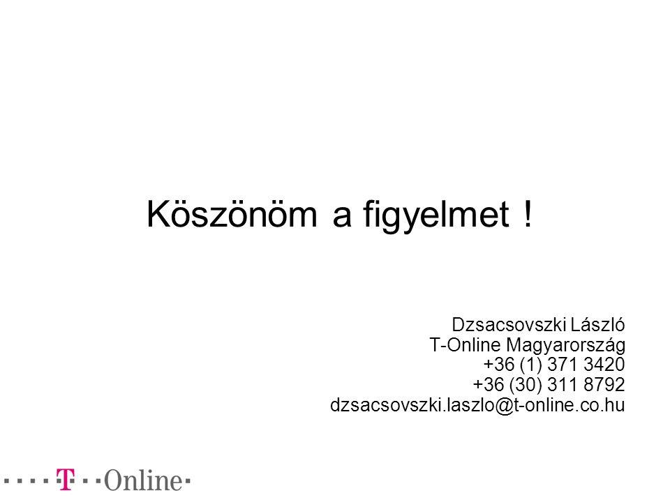 Köszönöm a figyelmet ! Dzsacsovszki László T-Online Magyarország +36 (1) 371 3420 +36 (30) 311 8792 dzsacsovszki.laszlo@t-online.co.hu