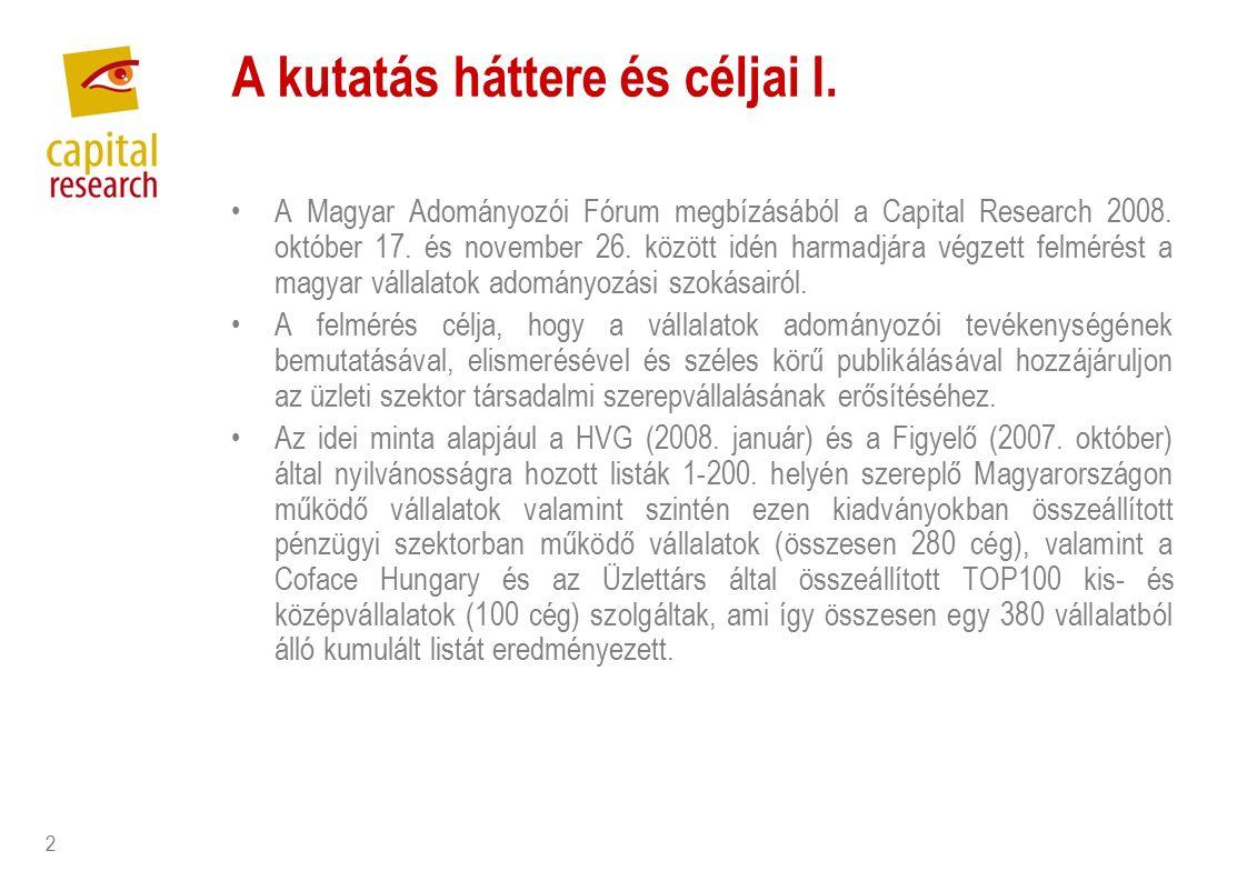 2 A kutatás háttere és céljai I. A Magyar Adományozói Fórum megbízásából a Capital Research 2008.