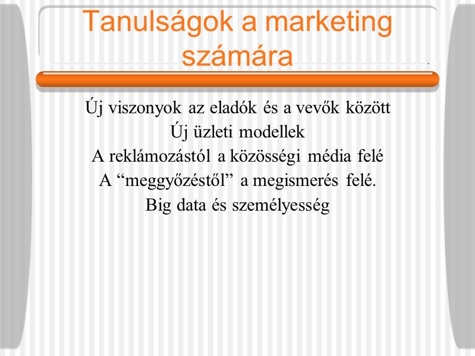 Tanulságok a marketing számára Új viszonyok az eladók és a vevők között Új üzleti modellek A reklámozástól a közösségi média felé A meggyőzéstől a megismerés felé.