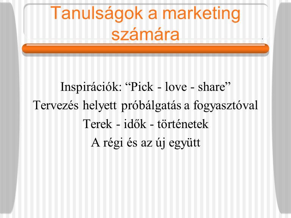 Tanulságok a marketing számára Inspirációk: Pick - love - share Tervezés helyett próbálgatás a fogyasztóval Terek - idők - történetek A régi és az új együtt