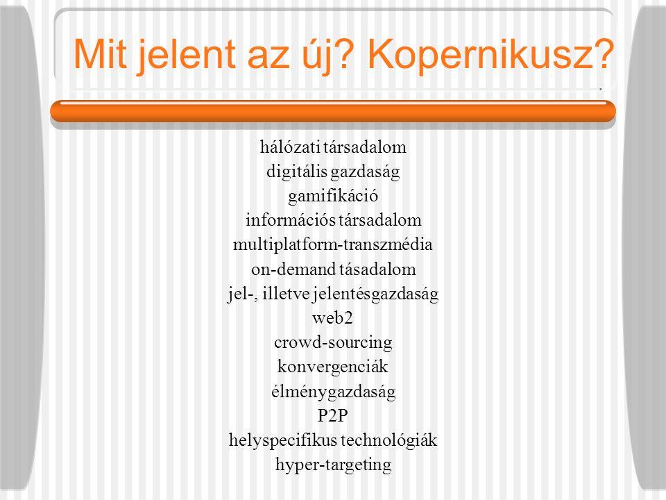 Mit jelent az új? Kopernikusz? hálózati társadalom digitális gazdaság gamifikáció információs társadalom multiplatform-transzmédia on-demand tásadalom