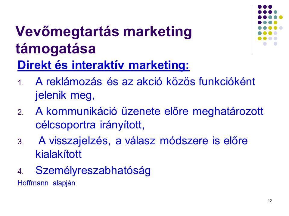 12 Direkt és interaktív marketing: 1. A reklámozás és az akció közös funkcióként jelenik meg, 2. A kommunikáció üzenete előre meghatározott célcsoport