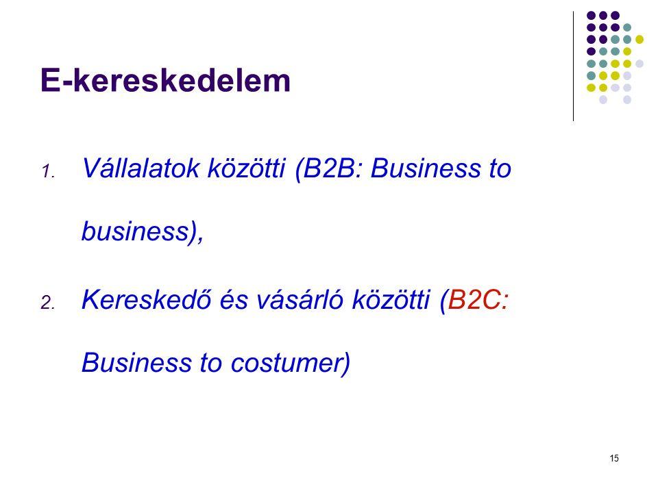 15 E-kereskedelem 1. Vállalatok közötti (B2B: Business to business), 2. Kereskedő és vásárló közötti (B2C: Business to costumer)