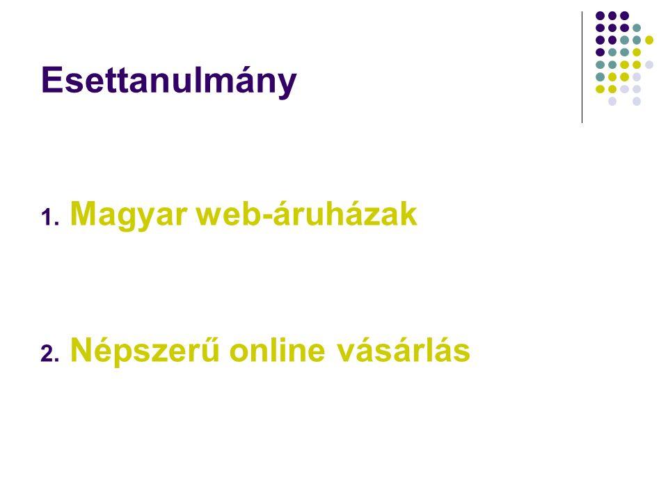 Esettanulmány 1. Magyar web-áruházak 2. Népszerű online vásárlás