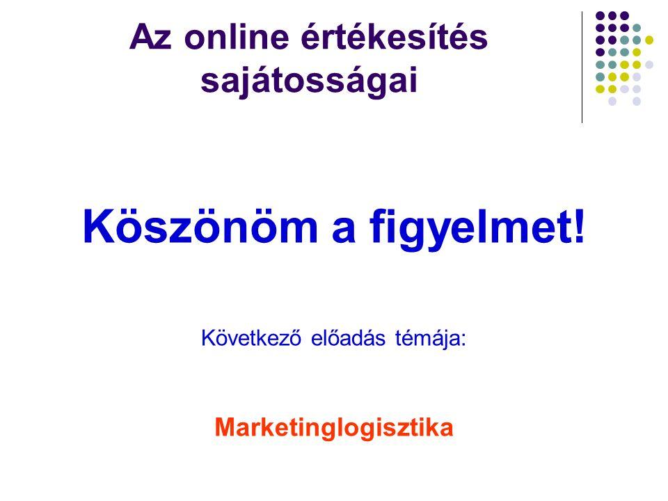 Az online értékesítés sajátosságai Köszönöm a figyelmet! Következő előadás témája: Marketinglogisztika
