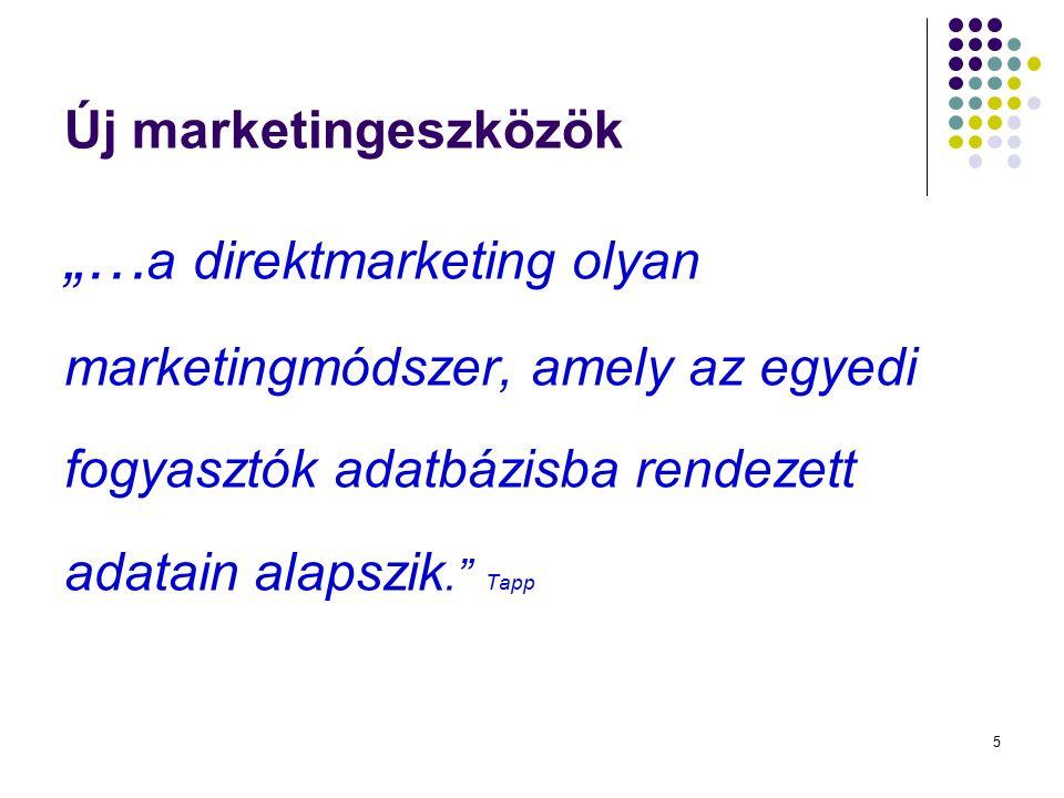 """5 Új marketingeszközök """"… a direktmarketing olyan marketingmódszer, amely az egyedi fogyasztók adatbázisba rendezett adatain alapszik."""" Tapp"""