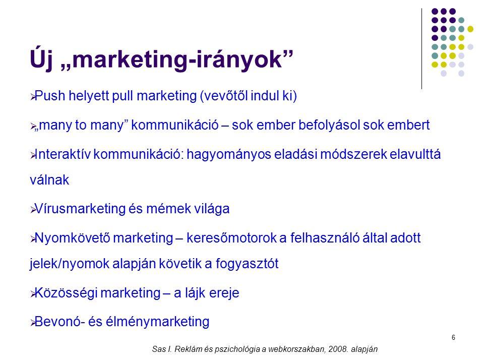 """6 Új """"marketing-irányok""""  Push helyett pull marketing (vevőtől indul ki)  """"many to many"""" kommunikáció – sok ember befolyásol sok embert  Interaktív"""