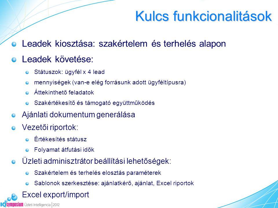 Kulcs funkcionalitások Leadek kiosztása: szakértelem és terhelés alapon Leadek követése: Státuszok: ügyfél x 4 lead mennyiségek (van-e elég forrásunk adott ügyféltípusra) Áttekinthető feladatok Szakértékesítő és támogató együttműködés Ajánlati dokumentum generálása Vezetői riportok: Értékesítés státusz Folyamat átfutási idők Üzleti adminisztrátor beállítási lehetőségek: Szakértelem és terhelés elosztás paraméterek Sablonok szerkesztése: ajánlatkérő, ajánlat, Excel riportok Excel export/import