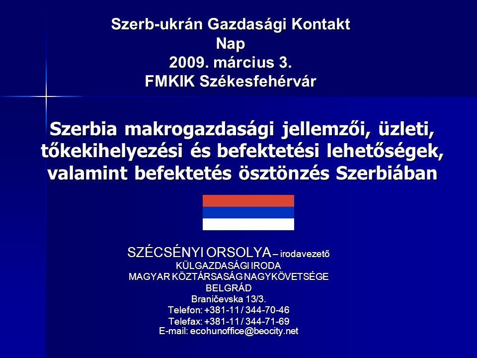 SZÉCSÉNYI ORSOLYA – irodavezető KÜLGAZDASÁGI IRODA MAGYAR KÖZTÁRSASÁG NAGYKÖVETSÉGE BELGRÁD Braničevska 13/3.