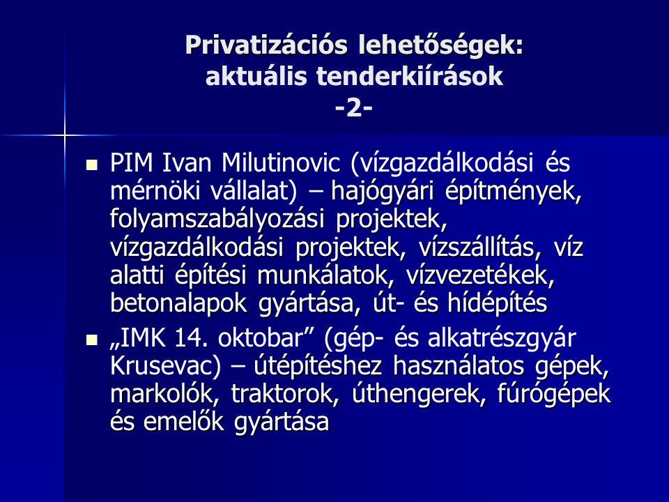 """Privatizációs lehetőségek: Privatizációs lehetőségek: aktuális tenderkiírások -2- hajógyári építmények, folyamszabályozási projektek, vízgazdálkodási projektek, vízszállítás, víz alatti építési munkálatok, vízvezetékek, betonalapok gyártása, út- és hídépítés PIM Ivan Milutinovic (vízgazdálkodási és mérnöki vállalat) – hajógyári építmények, folyamszabályozási projektek, vízgazdálkodási projektek, vízszállítás, víz alatti építési munkálatok, vízvezetékek, betonalapok gyártása, út- és hídépítés útépítéshez használatos gépek, markolók, traktorok, úthengerek, fúrógépek és emelők gyártása """"IMK 14."""