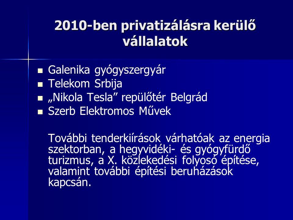 """2010-ben privatizálásra kerülő vállalatok Galenika gyógyszergyár Telekom Srbija """"Nikola Tesla repülőtér Belgrád Szerb Elektromos Művek További tenderkiírások várhatóak az energia szektorban, a hegyvidéki- és gyógyfürdő turizmus, a X."""