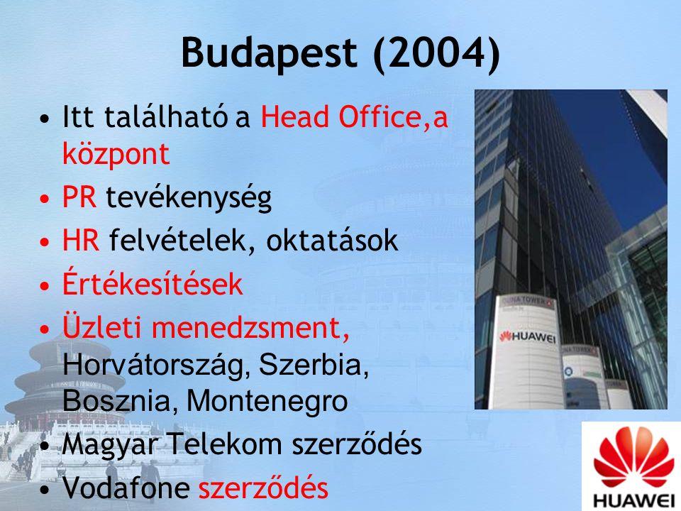 Budapest (2004) Itt található a Head Office,a központ PR tevékenység HR felvételek, oktatások Értékesítések Üzleti menedzsment, Horvátország, Szerbia, Bosznia, Montenegro Magyar Telekom szerződés Vodafone szerződés